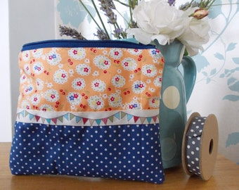 Handmade shabby chic cosmetic makeup bag purse bunting flowers gift