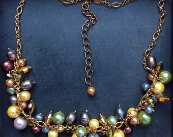 Multi Colored Pearl Beaded Cluster Necklace