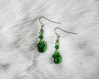 Glass Green Pepper Earrings