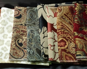 Set of Seven- 17in x 17in Upholstery fabric Squares-20A