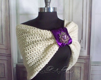Purple Wedding Shawl Bridal Shawl Bridesmaids Shawl Winter Wedding Autumn Wedding Bridal Stole Wedding Shoulder Cover Crochet Shrug Knit