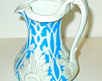 Antique Victorian JUG - Parian Blue and White  - Staffordshire Jasperware - c 1855 - Mint Condition - Joy Moos Antiques