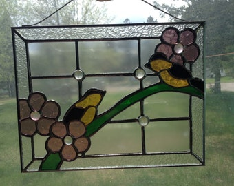 Goldfinch Stained Glass Panel