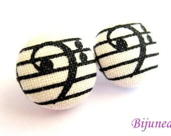Music earrings - Music stud earrings - White music note studs - Music posts - Music note post earrings sf290