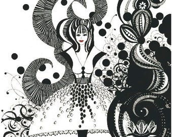 Black and White Blank Illustrated Gift Card - 'Miss Lotus'