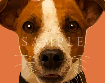 Jack Russel Terrier Dog Pet Portrait Painting Signed Art Prints