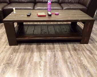 Coffee table with storage very functional handmade in the USA