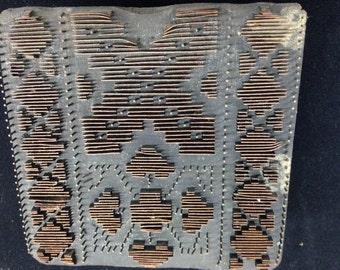 Vintage Metal Insert Wooden Printing Block from India With Geometric Cross and Diamonds Pattern