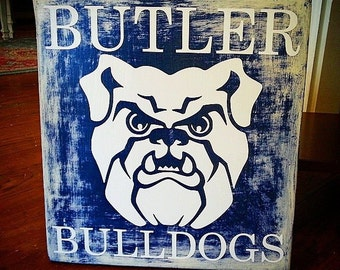 Butler Bulldogs College Sports Team Hand Painted Sign
