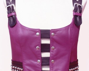 Special Discount//Woman Girl Leather Top Vest Shirt - Size XL - Red and Black - Cut Metal Spikes