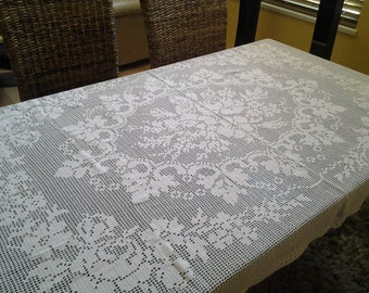 Crochet, hand made, knitted tablecloth, a great decor for special family occassions