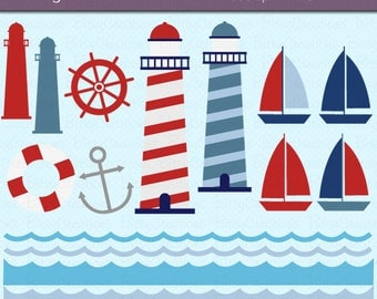 Lighthouse Nautical Digital Art Set Clipart Commercial Use Clip Art INSTANT Download Nautical Clipart Lighthouse Clipart