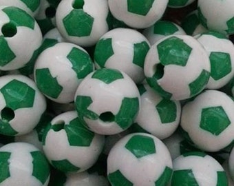 12mm Green/White Round Bead
