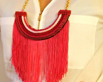"""Handmade Necklace with Neon Pink Fringes """"Pink Candy"""", Pink Necklace, Fringes Necklace, Statement Necklace, Gifts for her"""