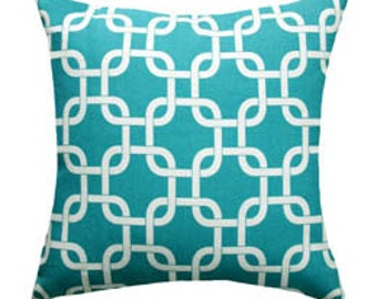 Turquoise Pillow Cover - Turquoise and White Chain Link Decorative Throw Pillow -  Turquoise Trellis Lattice Cushion Cover - Nursery Cover