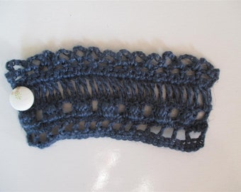 Dark grey blue crochet cuff/bracelet | 100% linen | with fabric-covered button