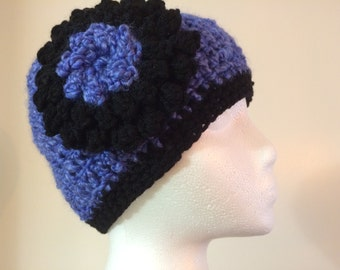 Womens crochet hat violet with black and violet flower