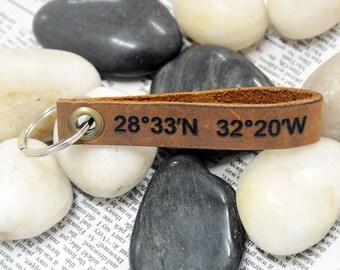 GPS Coordinates Latitude Longitude Key Chain, Leather Gift,Custom key ring, GPS Coordinates Key Ring , Personalized Leather Key Chain 5640