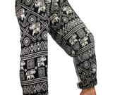 Hippie Pants Elephant - gypsy clothing harem pant design one size fits all elastic waist ankle in Black White unisex
