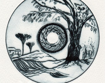 Landscape - Ginkgo - drypoint etching, printing stock CD, very small Limited Edition (10) home sweet home gift for her