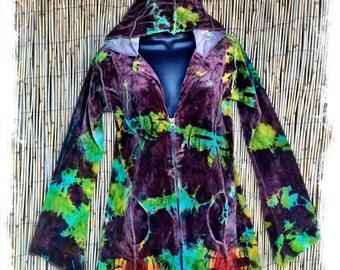 Elfy: Batik tie-dye velvet hooded jacket