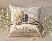 Wedding  Ring Pillow,  Ring Bearer Pillow , Lace ring pillow, Vintage Ring Pillow, Model no: 30/vin/pod