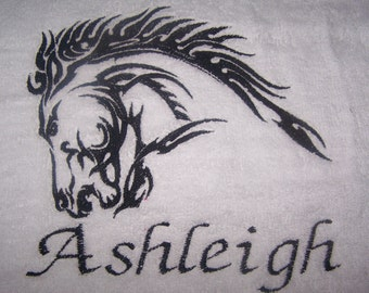 Personalised embroidered  fabulous Horses head  bath towel (100% cotton)