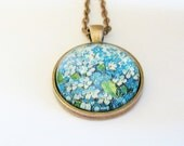 forget me not necklace floral art pendant botanical jewelry blue flowers floral print copper necklace glass dome jewelry woodland finds