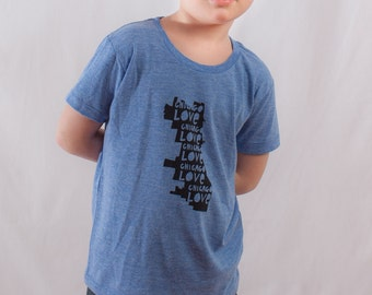 kids chicago t, chicago love tshirt, kids fashion, silkscreened t-shirt, children's chicago clothing, free shipping