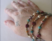 Pearl Necklace, Wrap Bracelet, June Birthstone, Turquoise Jewelry, African Heishi, Spiny Oyster Beads, Southwestern Style