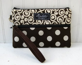 Padded Wristlet Mini Purse- Brown Swirl and Dot