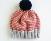 SALE!! Platinum, Coral, Navy Hand-Knit Beanie with Pom Pom- Made to Order