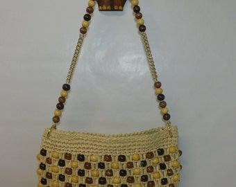Vintage Wood Beaded Straw Purse / Walborg Made in Japan / Raffia Handbag
