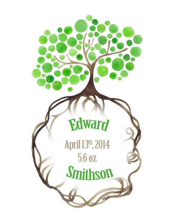 Newborn Custom Watercolour Tree Art Print New Baby Natural Roots Name Announcement Artwork Tree Art