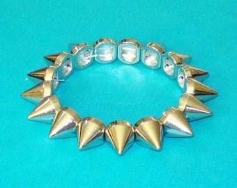 Silver Spiked Punk Bracelet
