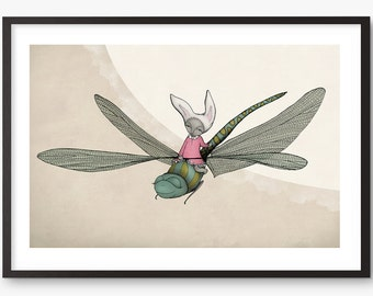 Dragonfly Art Print  - Dragonfly riding - rabbit cat illustration -  A4 - giclee print limited edition