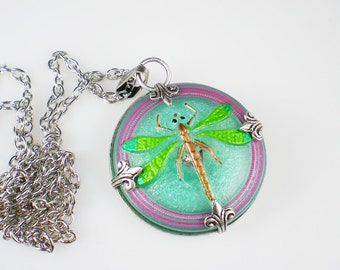 Dragonfly Necklace Pink Aqua Green Czech Glass Button Oxidized Silver Vintage Inspired Jewelry