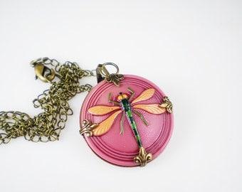 Dragonfly Necklace Coral Orange Pink Czech Glass Button Oxidzed Brass Raspberry Pink Vintage Inspired Jewelry