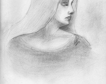 Ginger Original Pencil Drawing Portrait