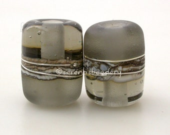 Gray Transparent Night Owl Tube Pair Lampwork Glass Bead - TANERES silvered ivory, fine silver wrap - 13x11 mm