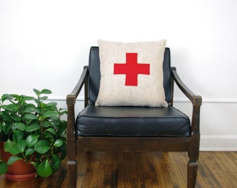 Oatmeal and Red Swiss Cross Decorative Pillow Cover