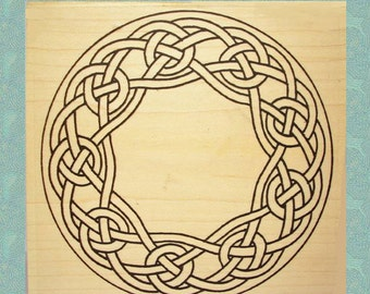 Large Celtic Knotwork Wreath Rubber Stamp #355