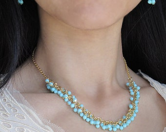 fairy in the woods - turquoise gold necklace and earring set