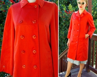 TOMATO Red 1960's 70's Vintage MOD Bright Orange Red Long Double Breasted Peacoat // size Small Medium // by Misty HARBOR