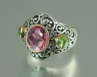 SOGDIANA silver & 14k gold cocktail ring with 3ct Pink Tourmaline and peridot cabachons