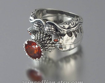 BLOOMING THISTLE sterling silver ring and wedding band set with Garnet