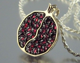 JUICY POMEGRANATE bronze and silver garnet pendant - Ready to ship