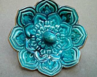 Ceramic Full Malachite Green Lotus Ring Holder Bowl Ring Dish  gold edged
