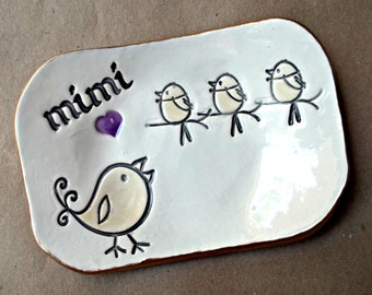 MIMI Trinket  Dish 3 Birdies Mothers day