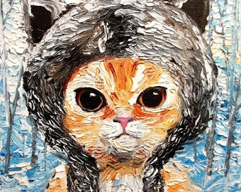 Cat print of original oil painting 16x20 inches Wolf Kitten